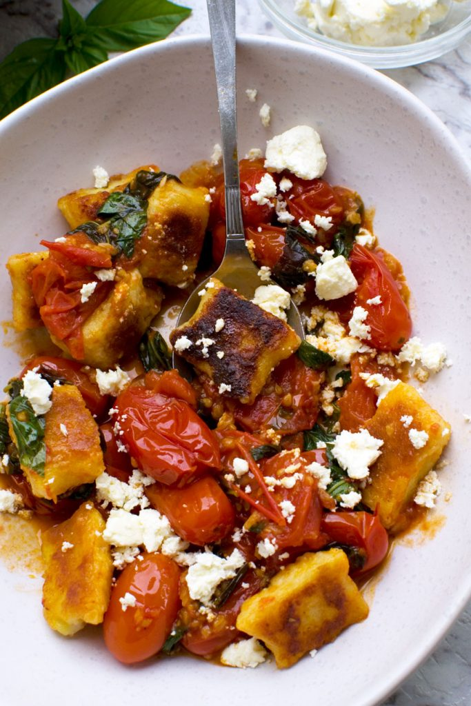 50 Vegetarian Recipes for Kids - Pan Fried Gnocchi with Cherry Tomato Sauce | Hurry The Food Up
