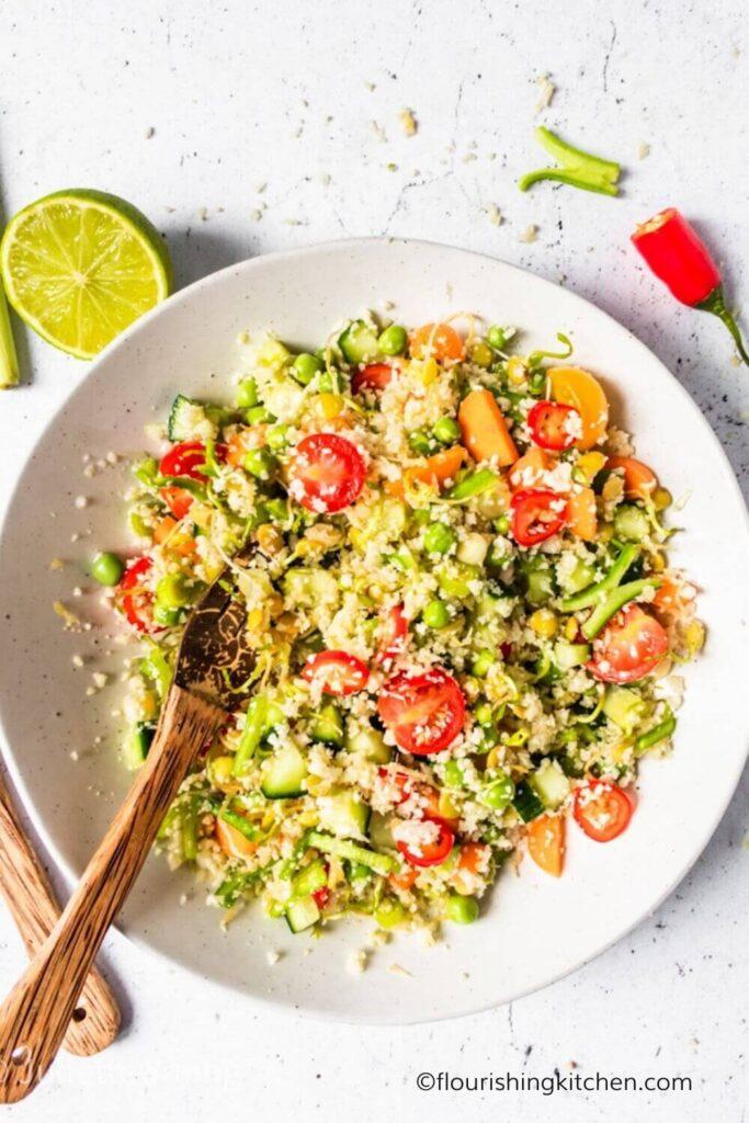 "20 Vegan Stir Fry Recipes - Raw Vegan Cauliflower ""Fried"" Rice | Hurry The Food Up"