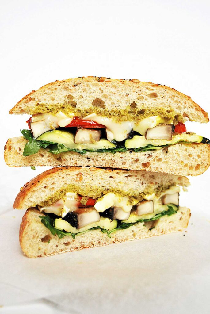 30 Best Veggie (Vegetarian) Sandwich Recipes - Roasted Vegetable, Brie and Pesto Sandwich | Hurry The Food Up