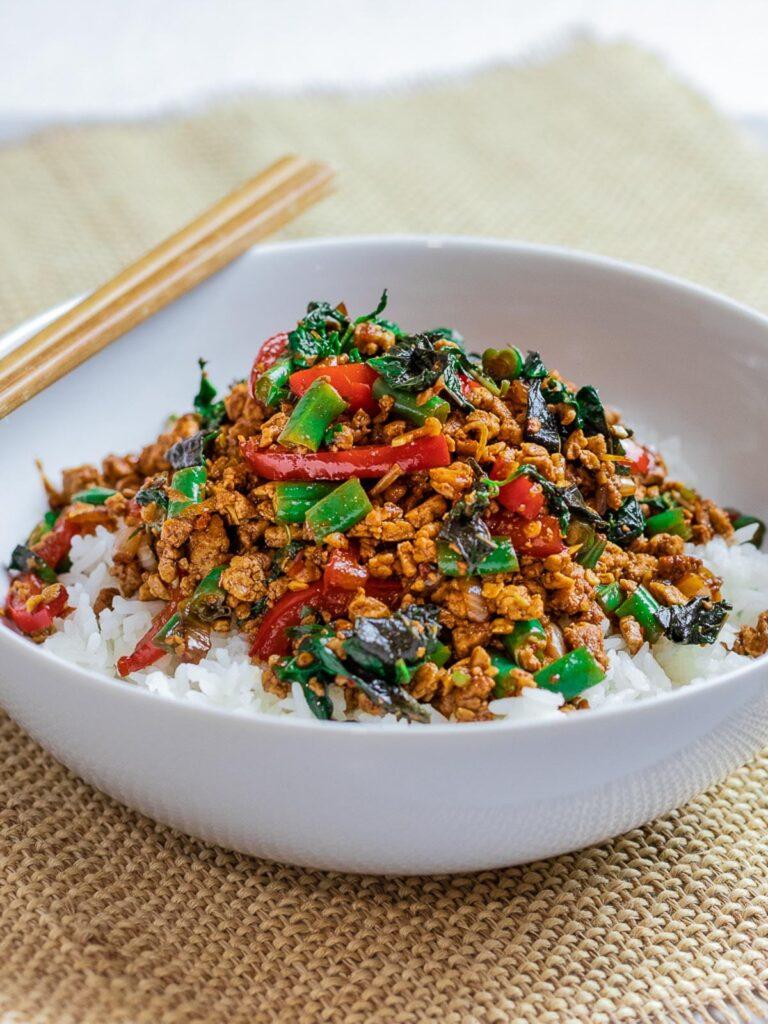 20 Best Vegetarian Stir Fry Recipes - Thai Basil Tofu Stir Fry (Pad Krapow) | Hurry The Food Up