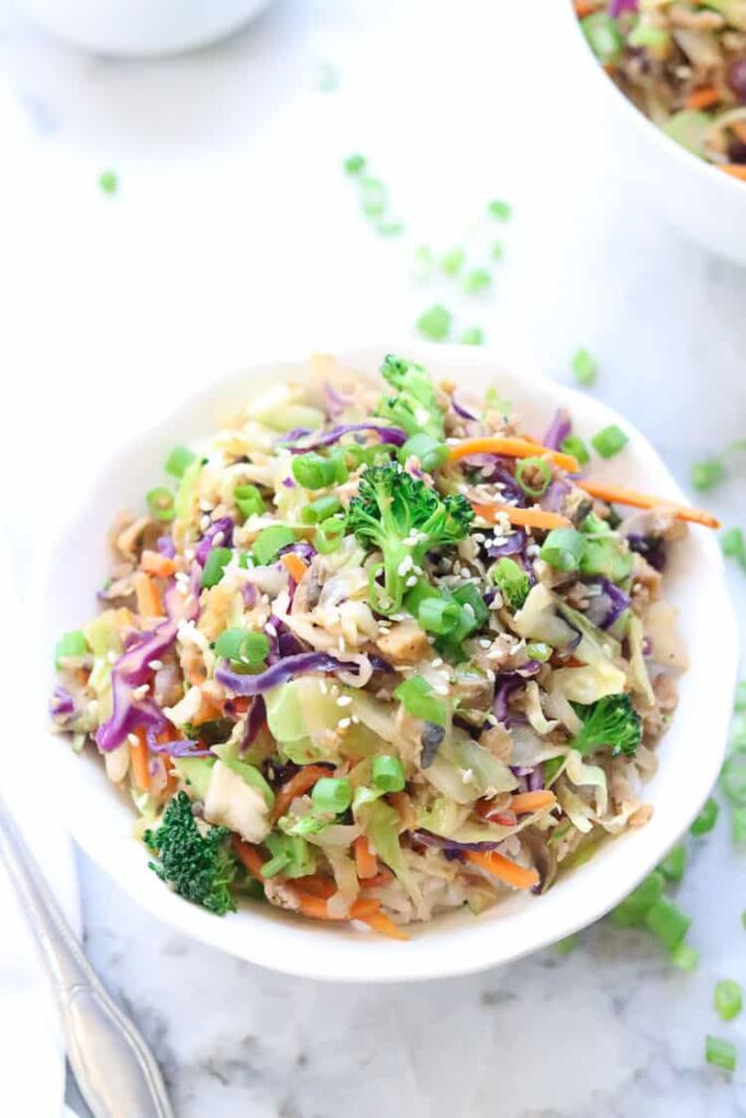 20 Vegan Stir Fry Recipes - Vegan Egg Roll in a Bowl | Hurry The Food Up
