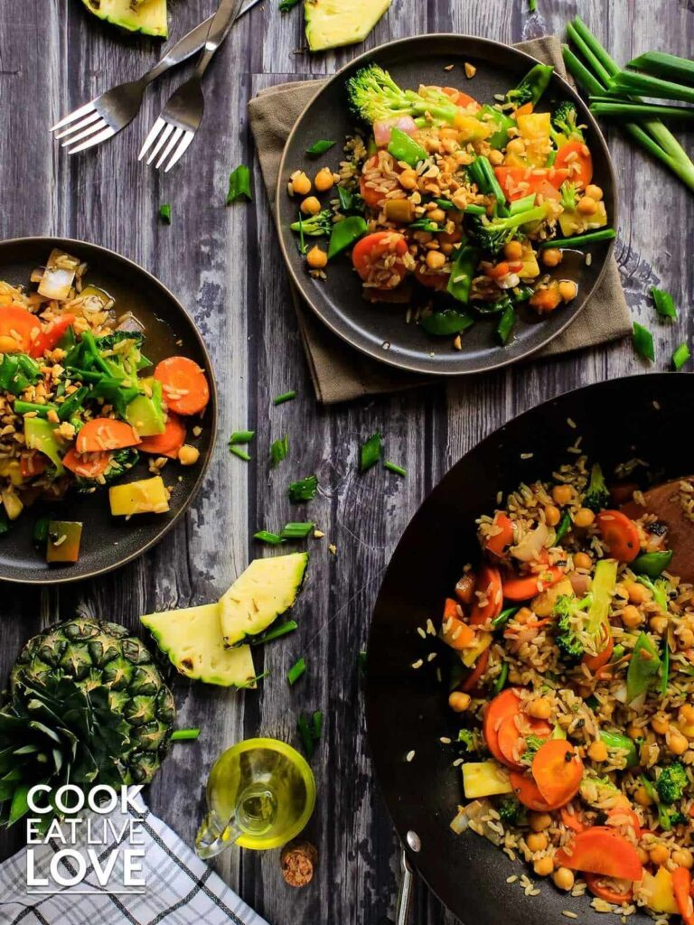 20 Best Vegetarian Stir Fry Recipes - Teriyaki Vegan Pineapple Fried Rice with Veggies | Hurry The Food Up