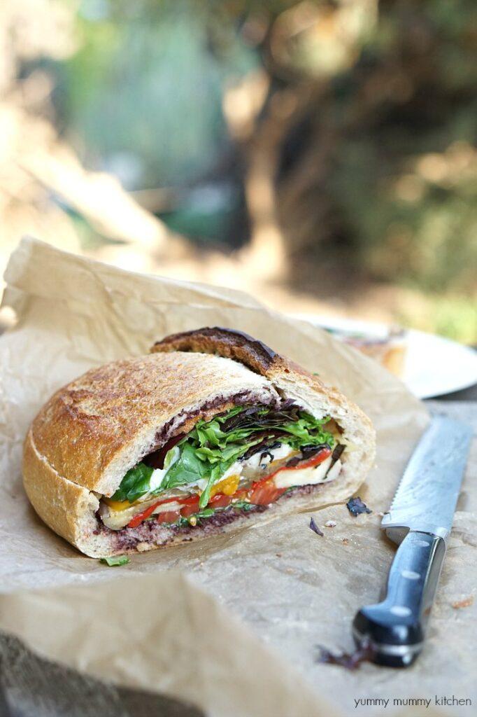 30 Best Veggie (Vegetarian) Sandwich Recipes - Vegetarian Muffuletta Picnic Sandwich | Hurry The Food Up