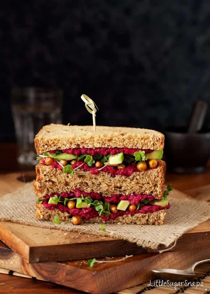 30 Best Vegan Sandwich Recipes - Beet Hummus, Roast Chickpea and Avocado Sandwich | Hurry The Food Up