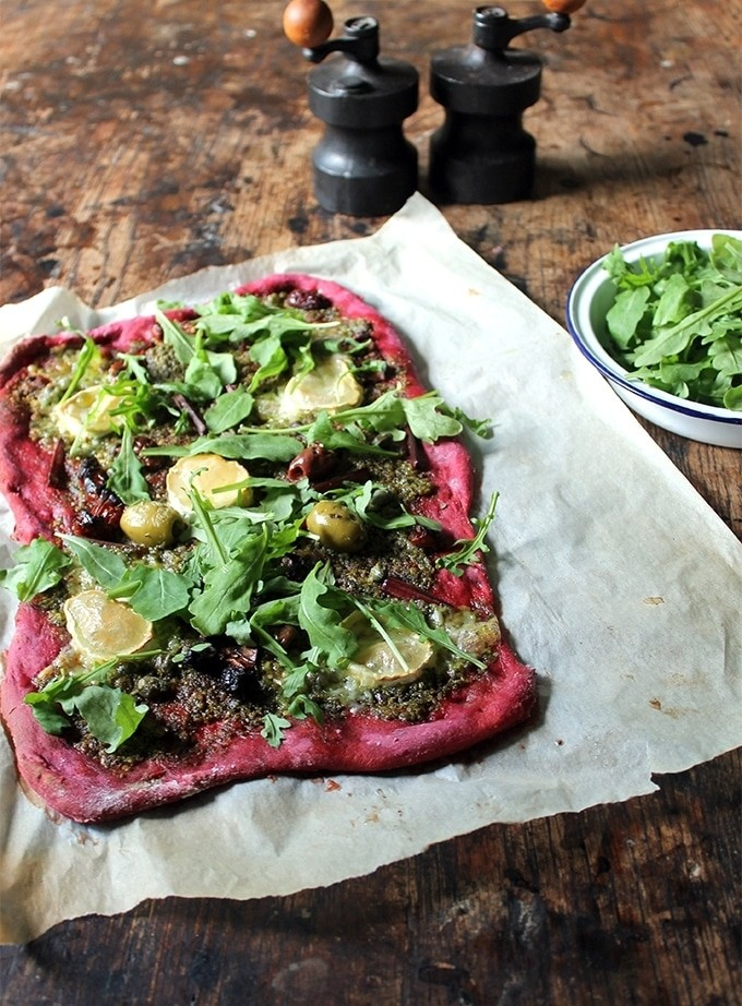 30 Ingenious Vegan Pizza Recipes - Beetroot and Beet Leaf Pizza | Hurry The Food Up