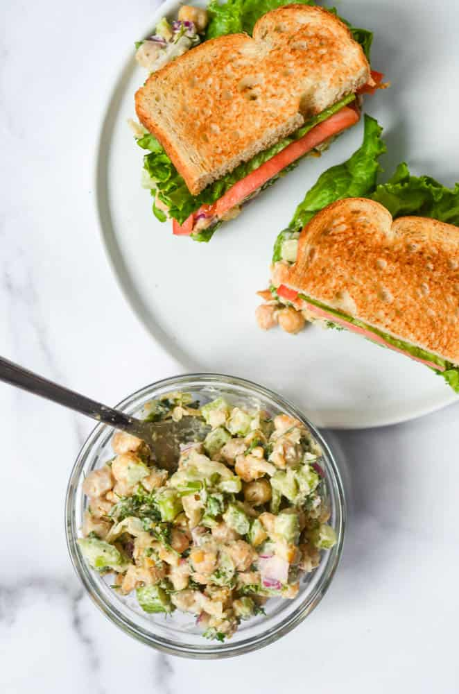 30 Best Vegan Sandwich Recipes - Vegan Chicken Salad Sandwich with Chickpeas | Hurry The Food Up