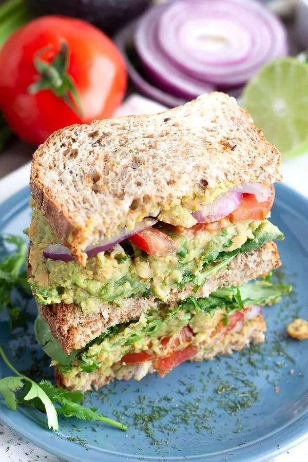 30 Best Vegan Sandwich Recipes - Chickpea and Avocado Sandwich | Hurry The Food Up