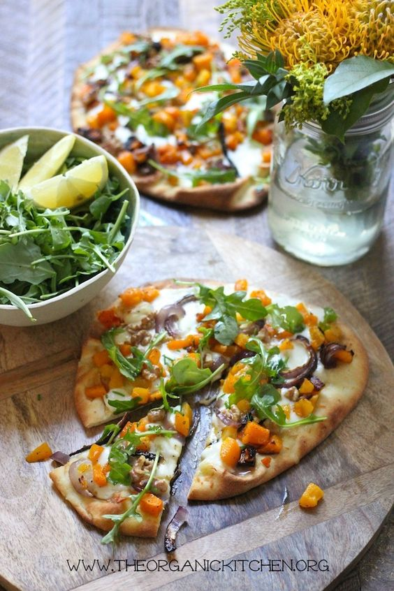 30 Best Veggie Pizza Recipes - Grilled Naan Butternut Squash| Hurry The Food Up