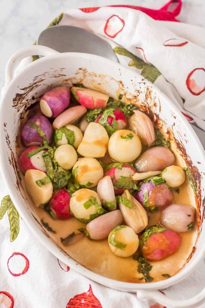 60 Vegan Asian Recipes - Roasted Miso Glazed Radishes | Hurry The Food Up
