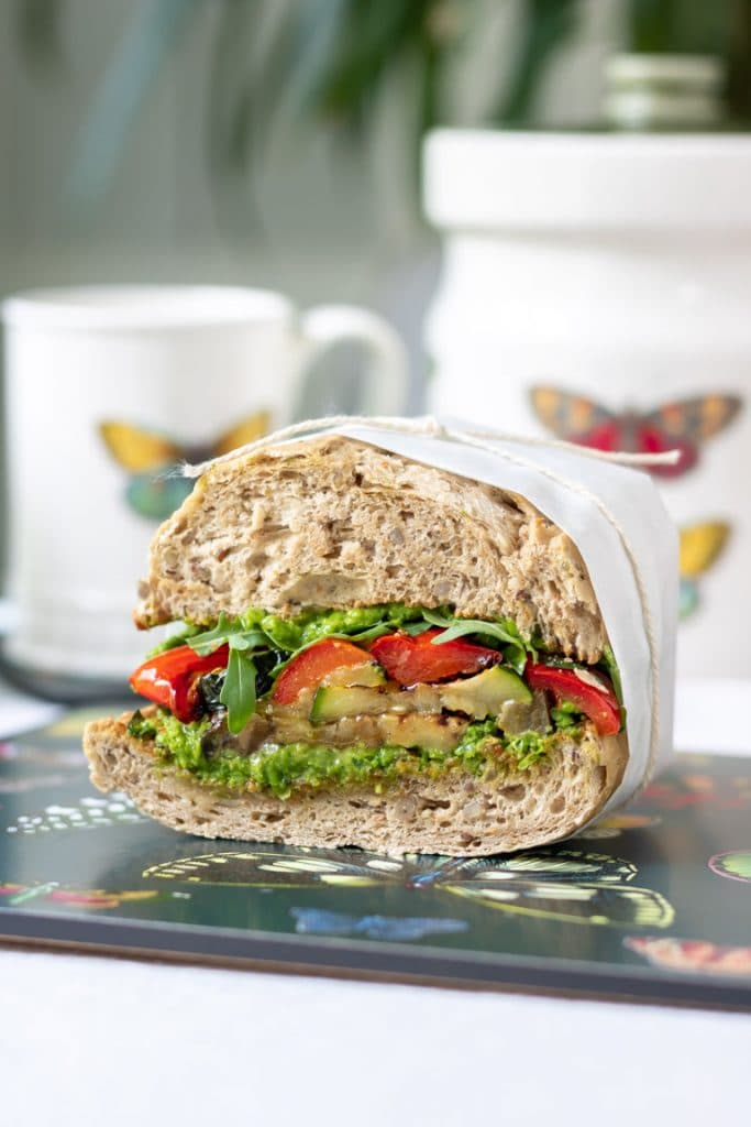 30 Best Vegan Sandwich Recipes - Roast Vegetable Sandwich with Pea Pesto | Hurry The Food Up