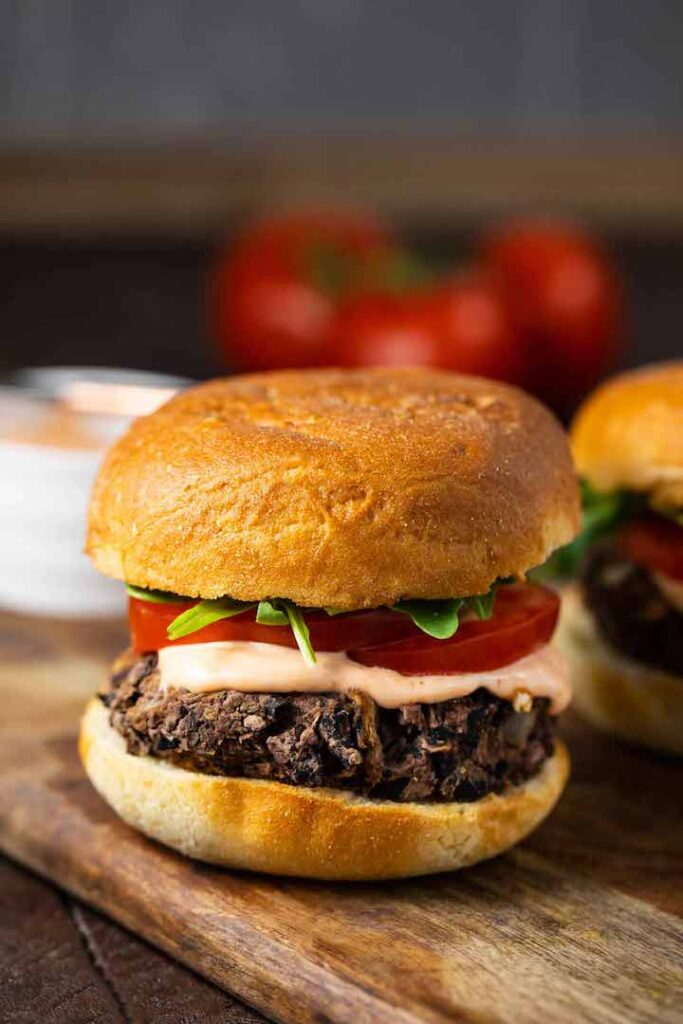 10 Best Veggie Burger Recipes in the World - Shiitake Burgers with Spicy Aioli | Hurry The Food Up