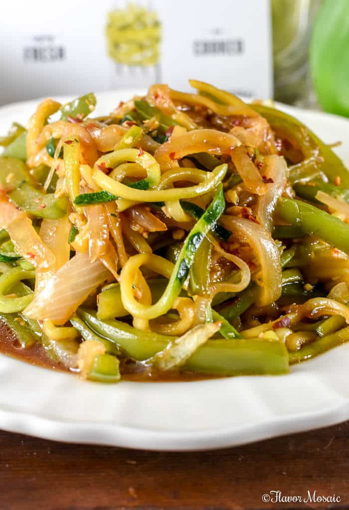 60 Vegan Asian Recipes - Stir Fry Zucchini Noodles | Hurry The Food Up