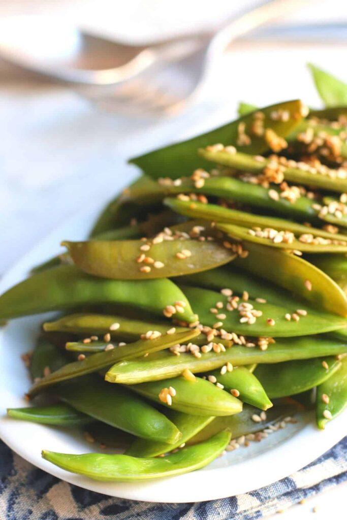 60 Vegan Asian Recipes - Sugar Snap Peas Stir Fry | Hurry The Food Up