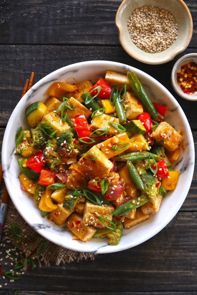 60 Vegetarian Asian Recipes - Vegan Tofu Stir Fry With Veggies | Hurry The Food Up