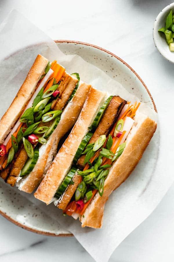 30 Best Vegan Sandwich Recipes - Vegan Tofu Banh Mi Sandwich | Hurry The Food Up