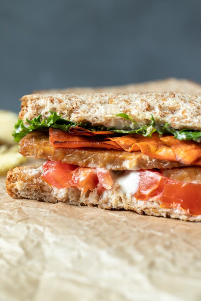 30 Best Vegan Sandwich Recipes - Vegan BLT With Tempeh and Carrot Bacon | Hurry The Food Up