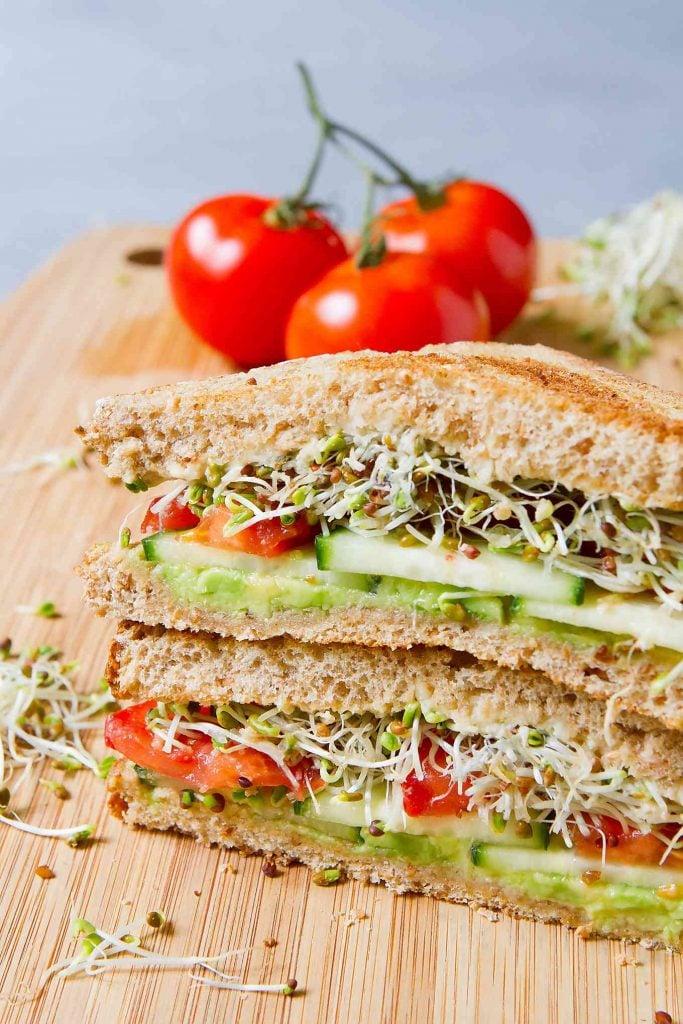 30 Best Vegan Sandwich Recipes - Vegan Hummus Avocado Sandwich | Hurry The Food Up