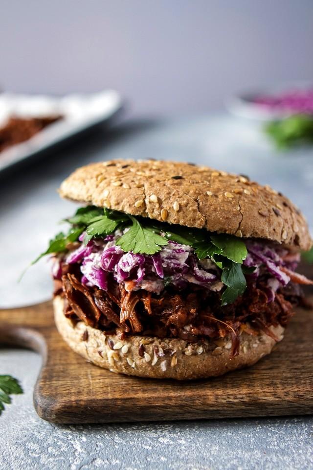 30 Best Vegan Sandwich Recipes - Vegan Pulled Jackfruit Sandwich | Hurry The Food Up