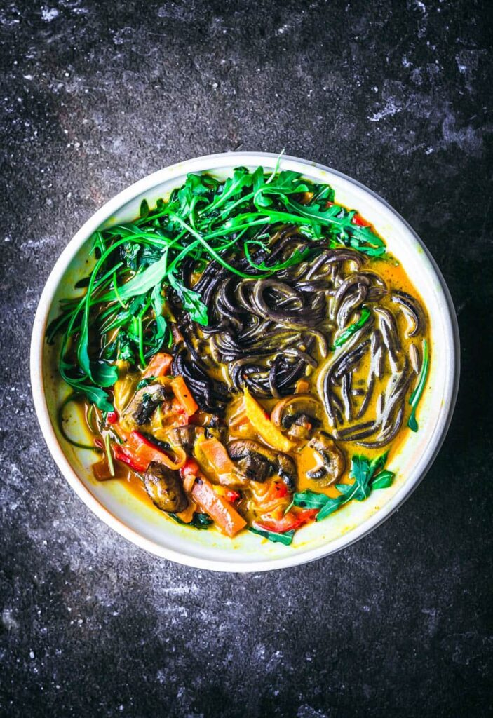 60 Vegan Asian Recipes - Vegan Yellow Curry Noodle Bowls | Hurry The Food Up