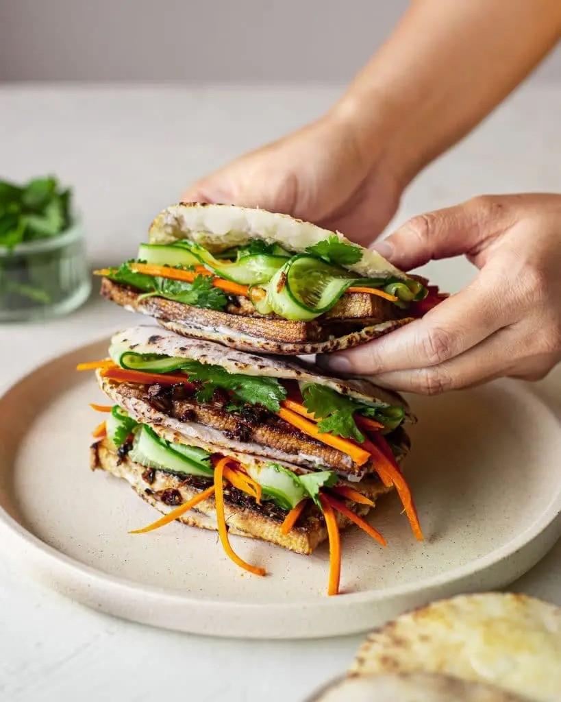 60 Vegetarian Asian Recipes - Lemongrass Tofu Bahn Mi Pita | Hurry The Food Up