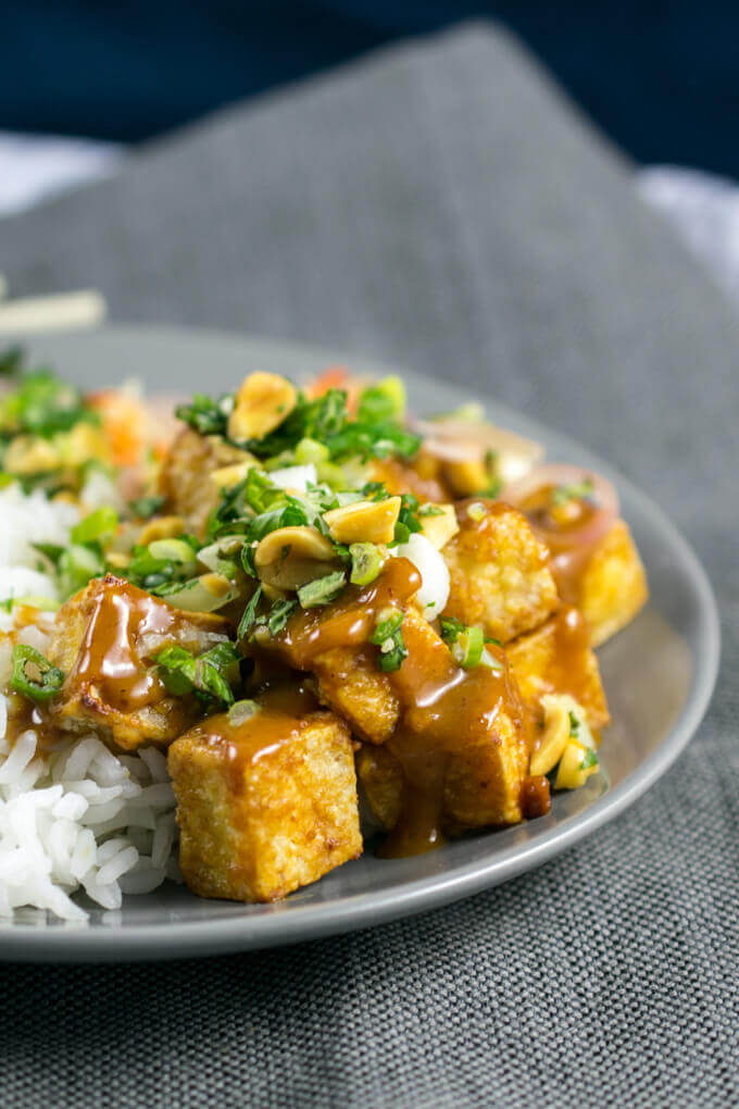 60 Vegan Asian Recipes - Crispy Baked Peanut Tofu with Pickled Shallots and Fresh Herbs | Hurry The Food Up