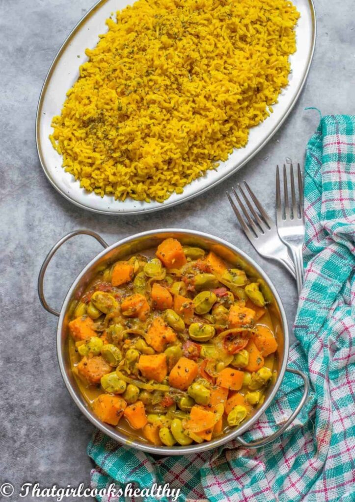60 Vegan Asian Recipes - Broad Beans Curry | Hurry The Food Up