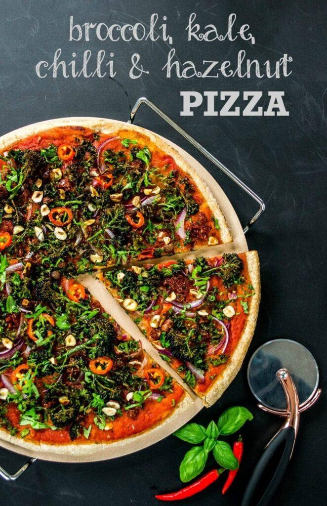 30 Ingenious Vegan Pizza Recipes - Broccoli Kale Chilli Hazelnut Pizza | Hurry The Food Up