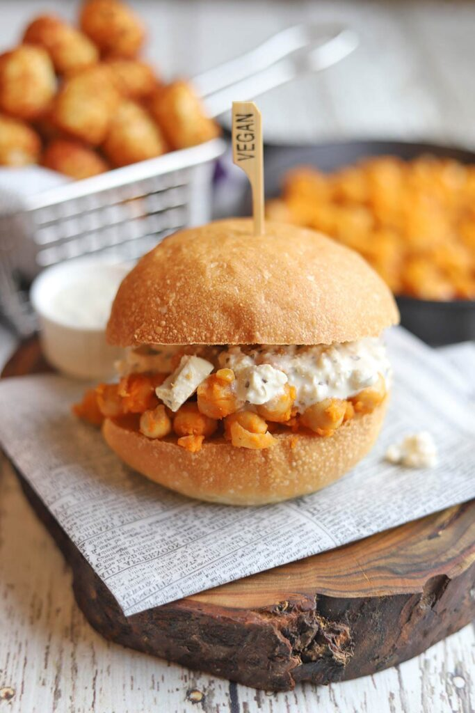 30 Best Vegan Sandwich Recipes - Buffalo Chickpea Sandwich with Vegan Blue Cheese | Hurry The Food Up