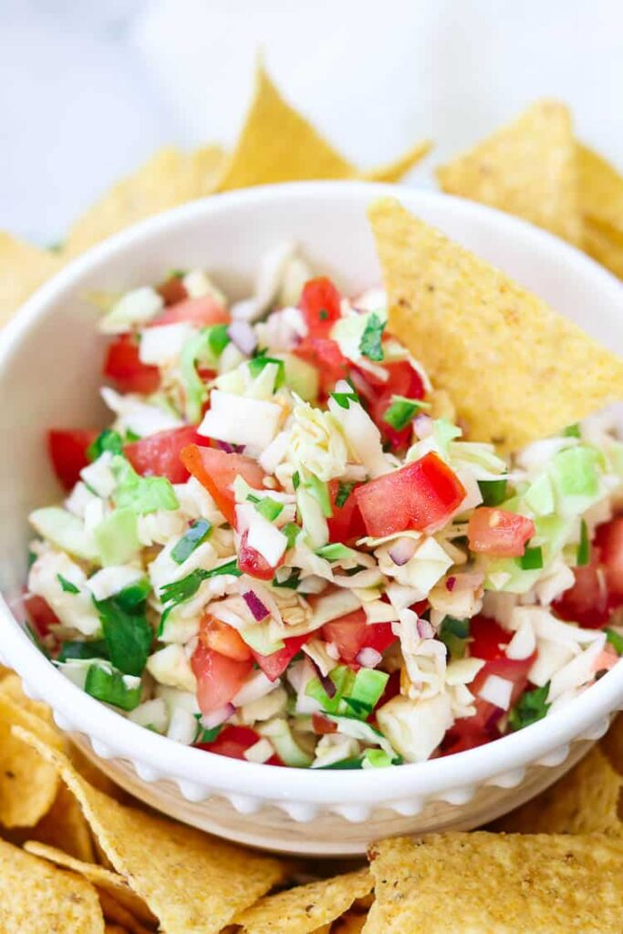 50 Vegan Mexican Recipes - Cabbage Salsa - Mexican Coleslaw | Hurry The Food Up