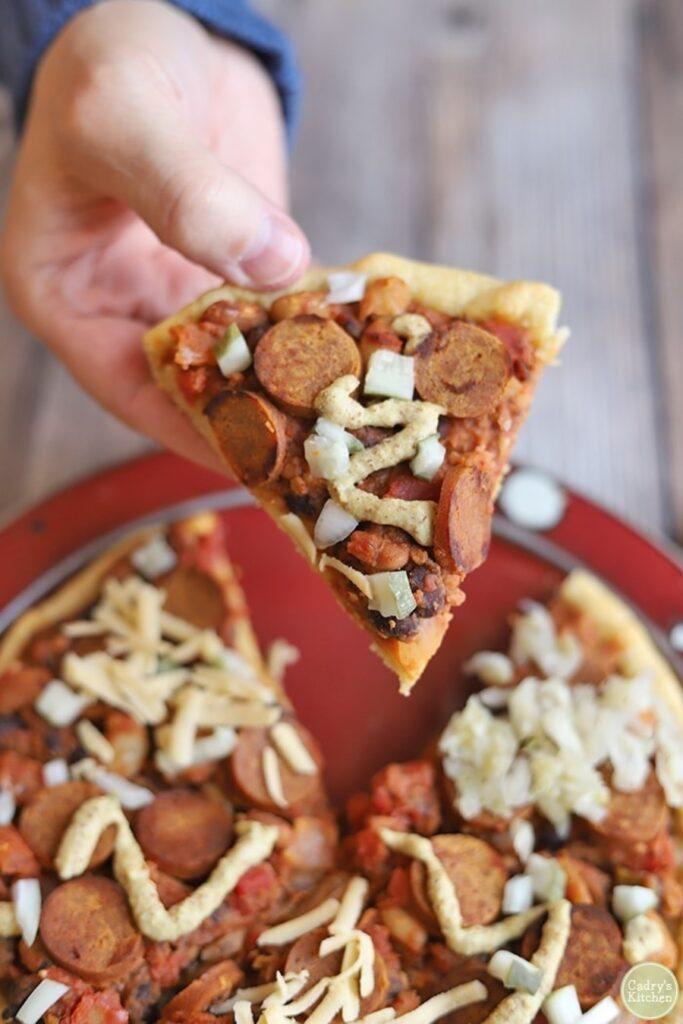 30 Ingenious Vegan Pizza Recipes - Vegan Chilli Dog Pizza | Hurry The Food Up