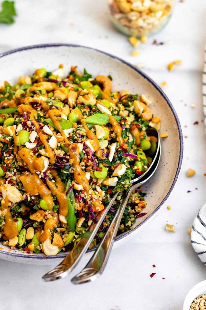 60 Vegan Asian Recipes - Asian Edamame Peanut Crunch Salad | Hurry The Food Up