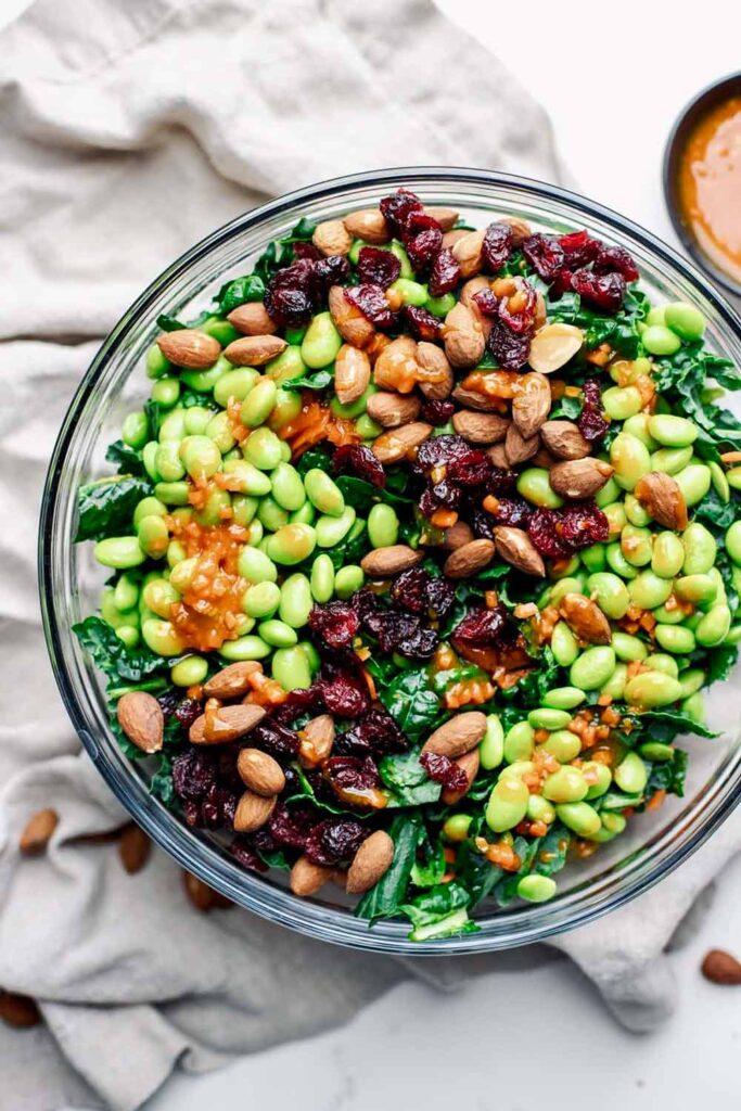 60 Vegetarian Asian Recipes - Crunchy Kale & Edamame Salad | Hurry The Food Up