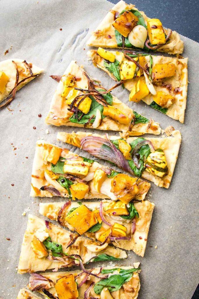 30 Ingenious Vegan Pizza Recipes - Squash Flatbread| Hurry The Food Up