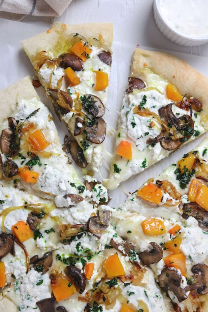30 Best Veggie Pizza Recipes - Three Cheese Squash Pizza | Hurry The Food Up