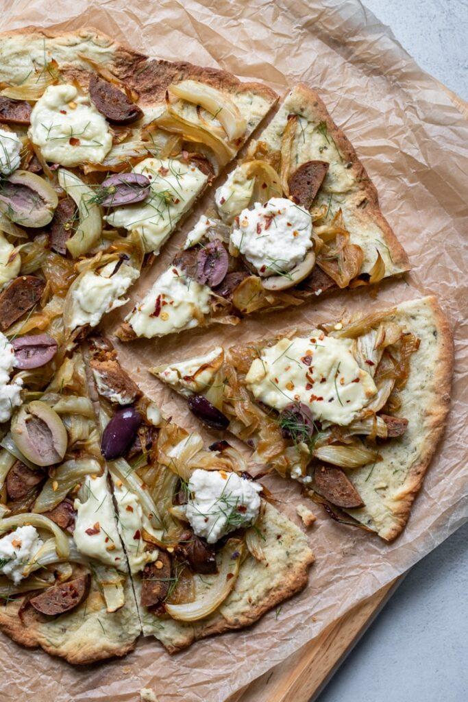 30 Ingenious Vegan Pizza Recipes-Vegan Fennel Ricotta Pizza | Hurry The Food Up