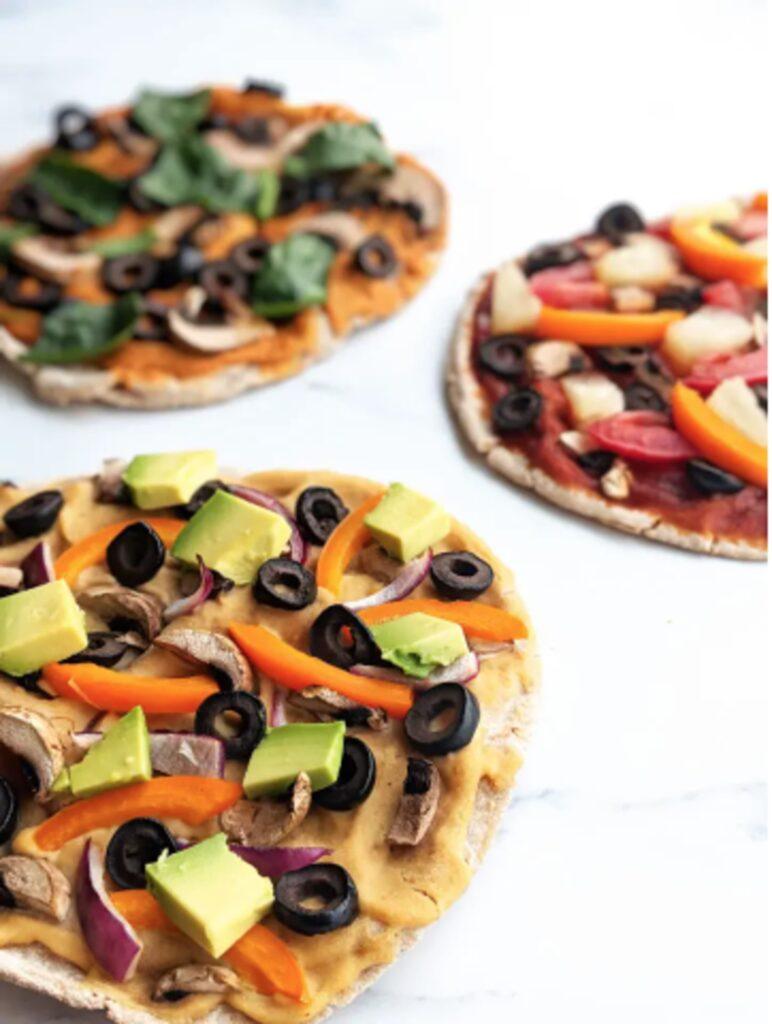 30 Ingenious Vegan Pizza Recipes - Vegan Pitta Pizza 3 Ways | Hurry The Food Up