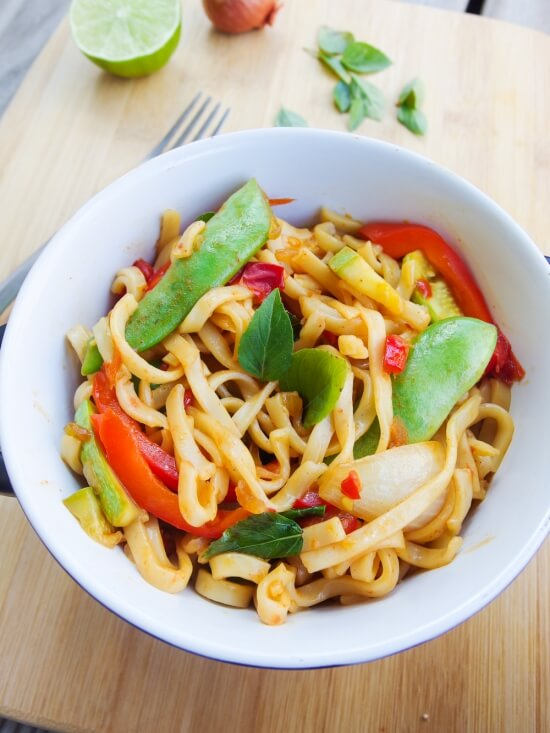 60 Vegan Asian Recipes - Spicy Basil Noodles | Hurry The Food Up