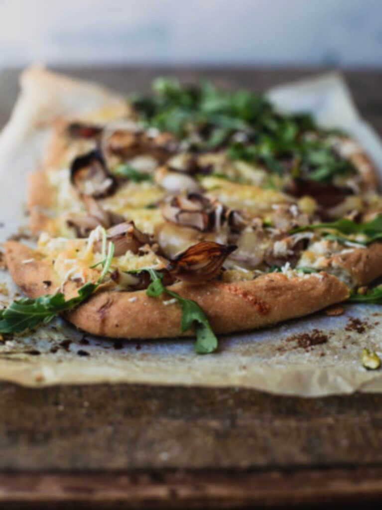30 Ingenious Vegan Pizza Recipes - White Pizza Balsamic Shallots | Hurry The Food Up