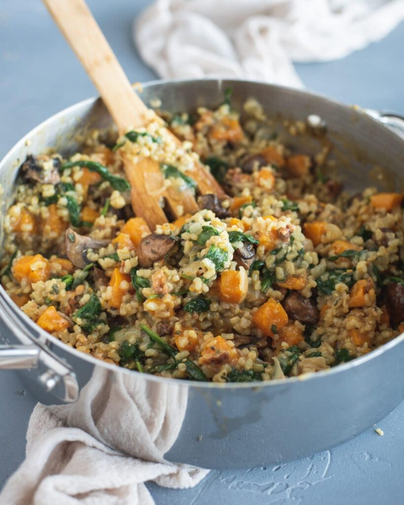 30 Vegetarian Italian Recipes - Brown Rice Risotto with Butternut Squash & Mushrooms | Hurry The Food Up