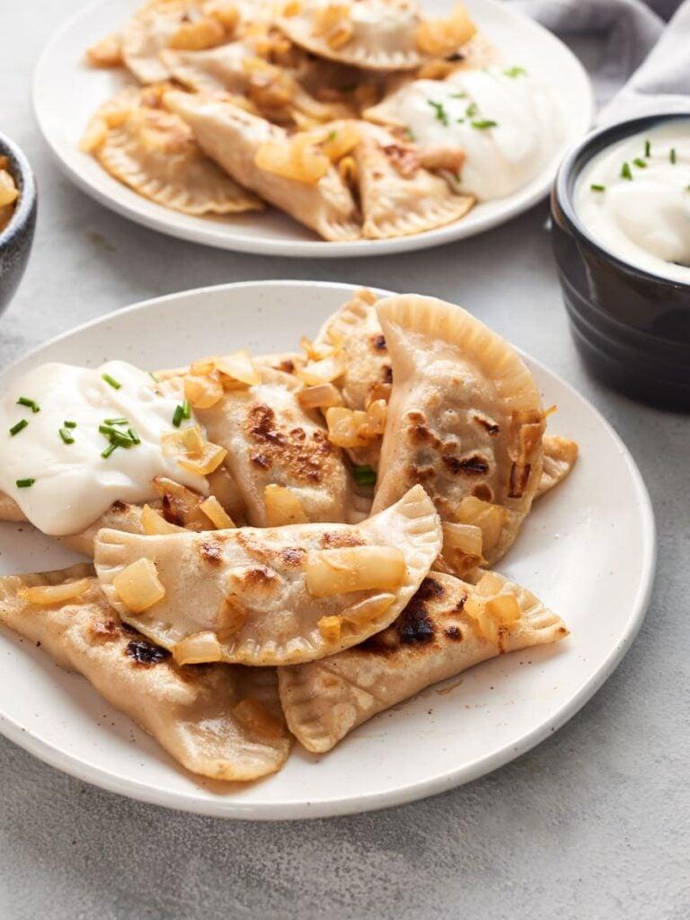 60 Perfect Vegetarian Dinner Recipes - Vegan Pierogi with Potato, Tofu, and Smoky Mushrooms   Hurry The Food Up