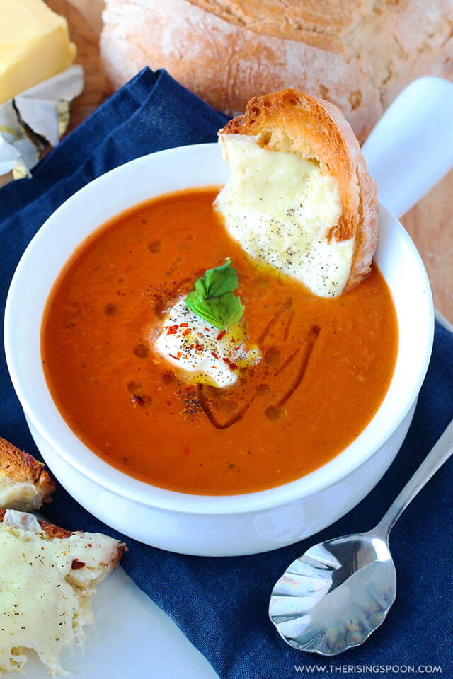 60 Perfect Vegetarian Dinner Recipes - Creamy Tomato Basil Soup   Hurry The Food Up