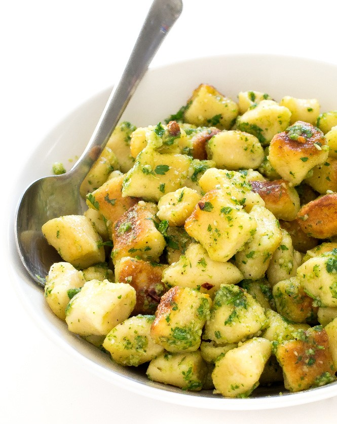60 Perfect Vegetarian Dinner Recipes - Crispy Parsley Pesto Gnocchi   Hurry The Food Up