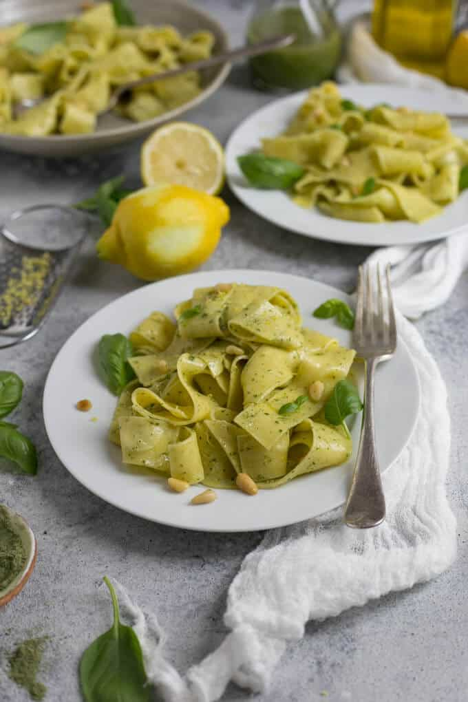 30 Vegetarian Italian Recipes -  Lemon Pappardelle with Basil and Kale Pesto | Hurry The Food Up