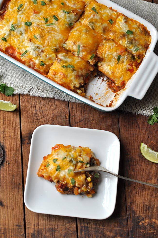 60 Perfect Vegetarian Dinner Recipes - Mexican Quinoa Enchilada Casserole   Hurry The Food Up