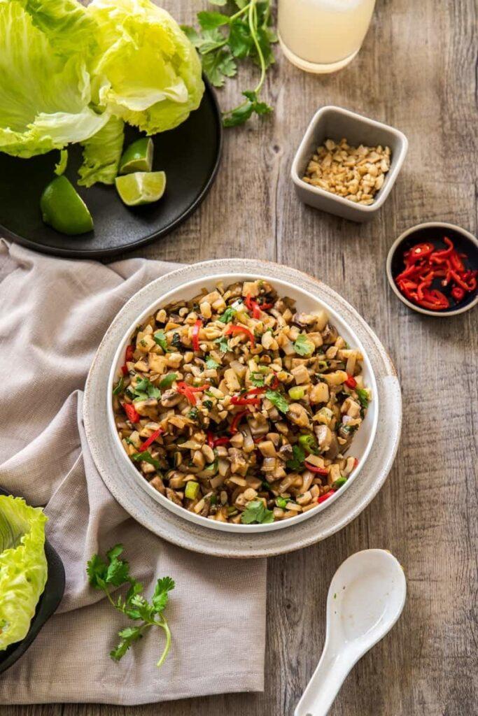 20 Delicious Vegan Chinese Recipes - Vegan Mushroom San Choy Bow | Hurry The Food Up
