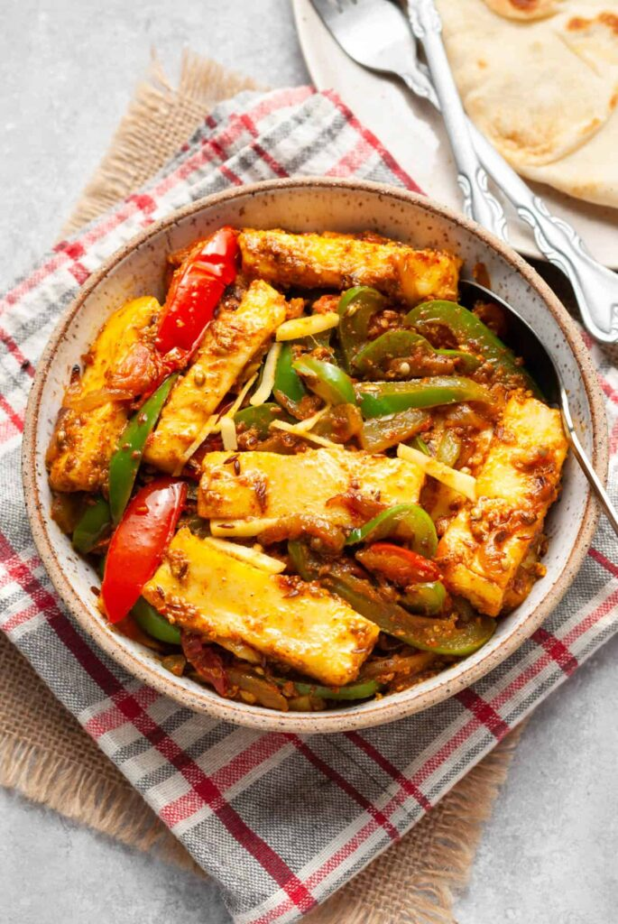 60 Perfect Vegetarian Dinner Recipes - Paneer Jalfrezi (Cottage Cheese And Green Peppers Stir Fry)   Hurry The Food Up