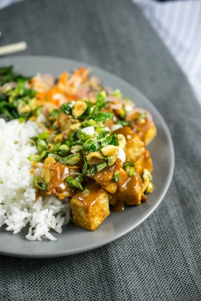 20 Mouth-Watering Vegetarian Chinese Recipes - Peanut Tofu with Pickled Shallots and Herb Slaw | Hurry The Food Up