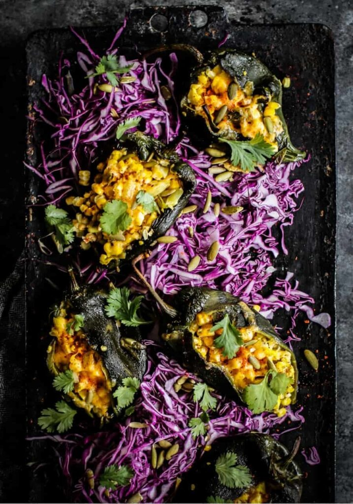 30 Low Fat Vegan Recipes - Poblano Stuffed Peppers | Hurry The Food Up