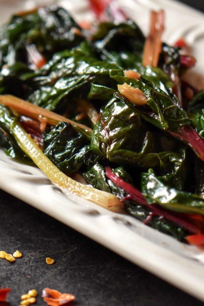 30 Vegetarian Italian Recipes - Sauteed Garlic Swiss Chard | Hurry The Food Up