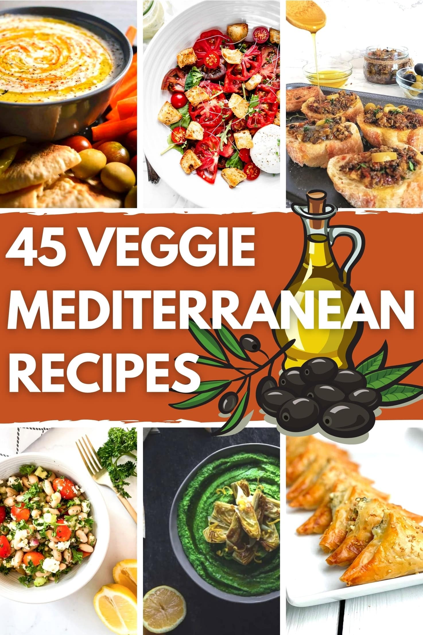 45 Summery Vegetarian Mediterranean Recipes - Title Image | Hurry The Food Up